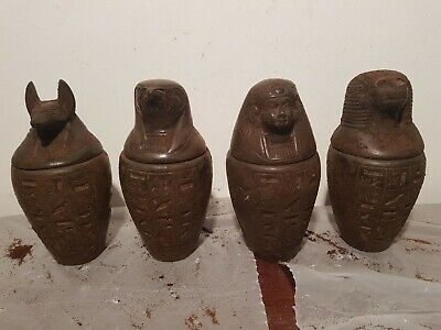Rare Antique Ancient Egyptian 4 canopic jars internal organs Mummy 1650-1580BC