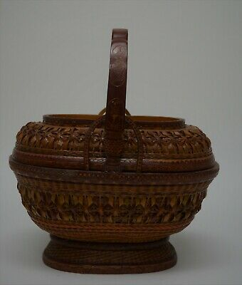 Vintage Chinese Oval Shape Woven Bamboo Basket,Made in China