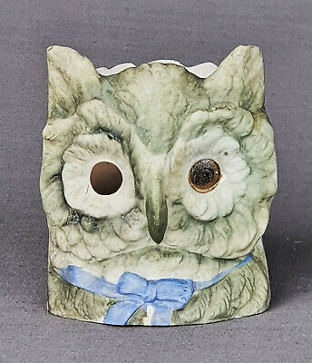Victorian Bisque Owl Head Fairy Lamp Candle Oil Night Light