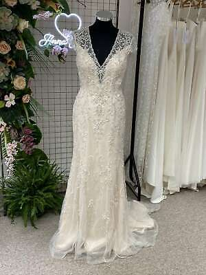 Kenneth Winston 1686 Champagne Fitted Fishtail Beaded Wedding Dress 8 RRP £2100