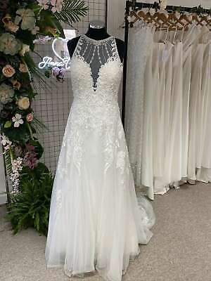 Beaded Lace and Tulle A Line Wedding Dress with Illusion Neckline 16 RRP £1650