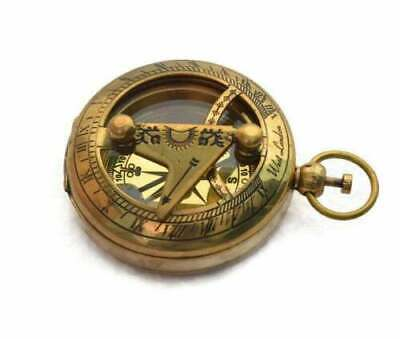 Solid Brass Push Button Direction Sundial Compass < Pocket Sundial Compass,