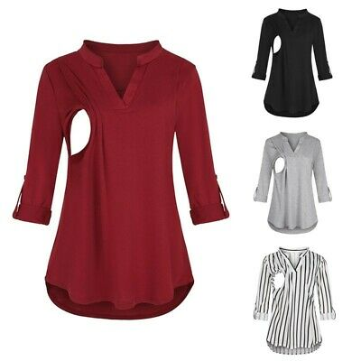 Women Maternity Winter Long Sleeve Striped Nursing Tops Blouse For Breastfeeding