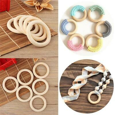 5PCS 70MM Fashion Teething Rings Connectors Circles Natural Wood Baby Toys Gifts