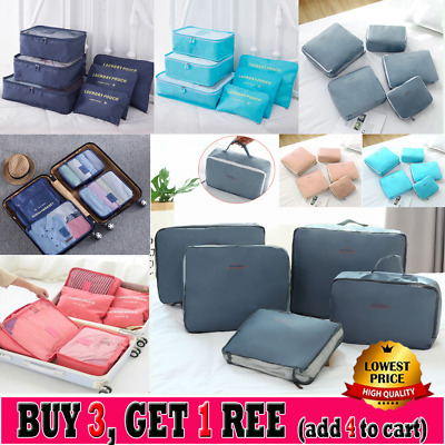 6PCS Travel Luggage Organiser Cube Clothes Storage Pouch Suitcase Packing Bags N
