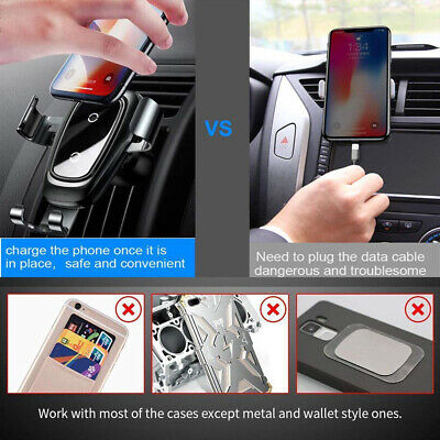 Hot 2 in 1 Fast Qi Wireless Car Charger Car Mount Stand Holder for Phone Black