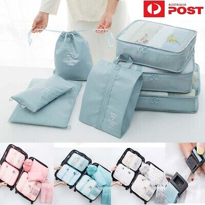 7Pcs Packing Cubes Travel Luggage Storage Bag Clothes Organiser Pouch Suitcase