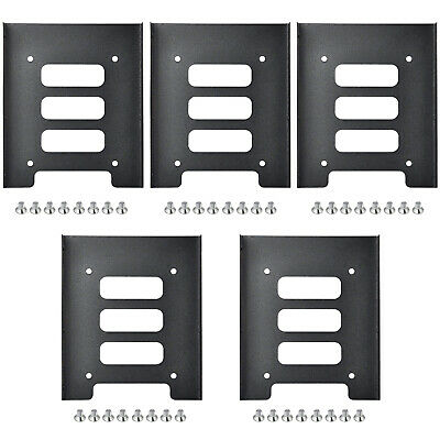 TRIXES Pack of 5 Black Metal 5.5 Inch SSD to 3.5 inch SSD for Hard Disk Drive