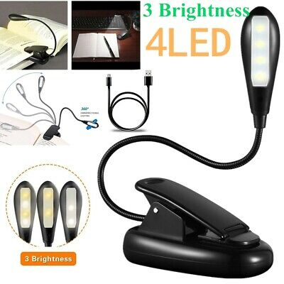 Flexible 4LED Reading Light Rechargeable Clip-on Beside Bed Table Desk Book Lamp