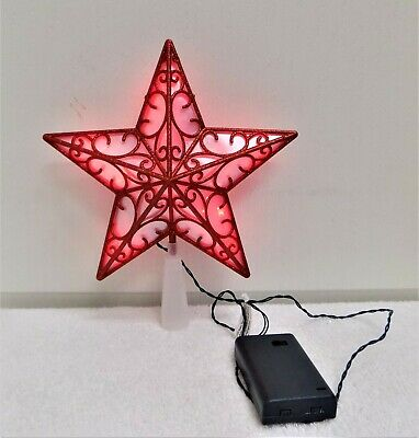 10 Lights Steady Burning Battery Operated Red Star Christmas Tree Topper