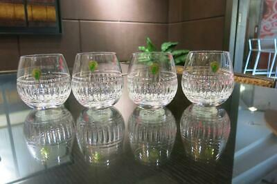 Set of 4 Waterford Bolton Stemless Red Wine Crystal Vertical Cut Glasses