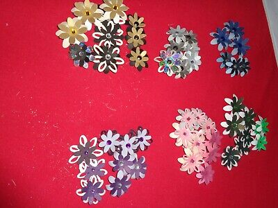 50 Layered Mixed Coloured Hand Made Flowers with Jewel Centres – Pk 5