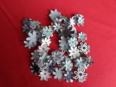 50 Layered Hand Made Flowers with Jewel Centres all Blues – Pk 7