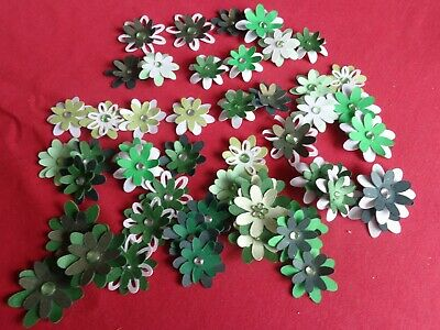 50 Layered Hand Made Flowers with Jewel Centres all Greens – Pk 8