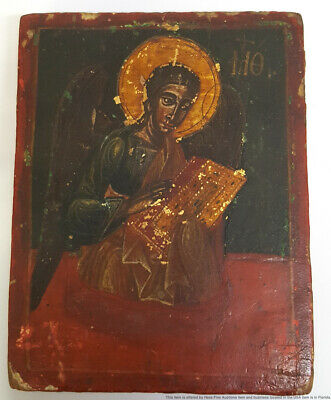 Antique Russian Greek Orthodox Signed Inscribed Christian Saint Icon