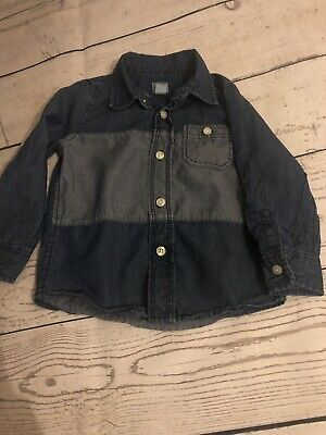 Boys Gap Denim Blue Long Sleeve Shirt Size Age 2 Years Immaculate Condition