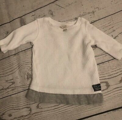 Boys River Island White & Grey Long Sleeve Top Age 9-12 Months - Immaculate