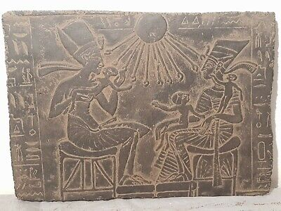 Rare Antique Ancient Egyptian Stela King Akhenaten Nefertiti God Sun1353–1336B