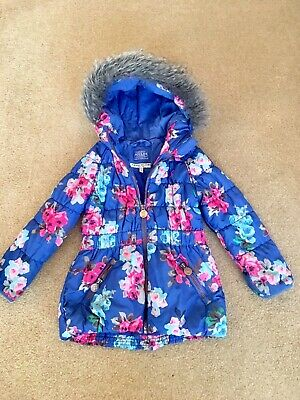 Joules Girls Parka Coat Age 2-3 3-4 Warm Next P&P Blue Floral Briar Quilted