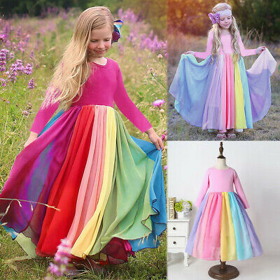 6M-5T Toddler Kids Baby Girl Rainbow Splice Pageant Gown Party Long Sleeve Dress