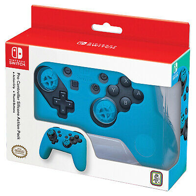 Nintendo Switch Pro Controller Silicone Action Pack (Neon Blue) [Brand New]