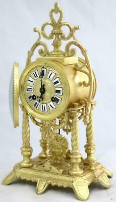 Antique Mantle Clock French Lovely 1880s Portico Pierced Bronze Bell Striking