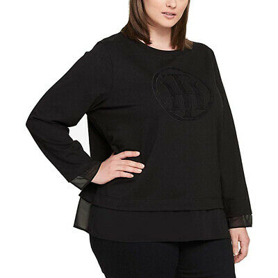 Tommy Hilfiger Women's Plus Jewel Neck Illusion Sweatshirt, Black, 1X