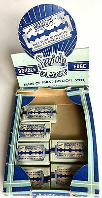 Vintage Lot Of 6 Smith Double Edge Safety Razor Blades & Original Display Box