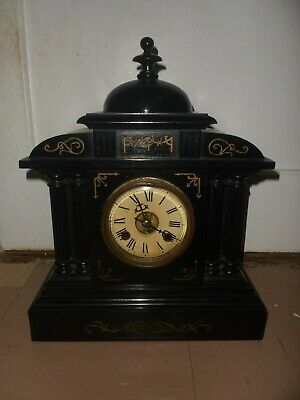 Large Antique Ebony Pendulum Mantle Clock, Working