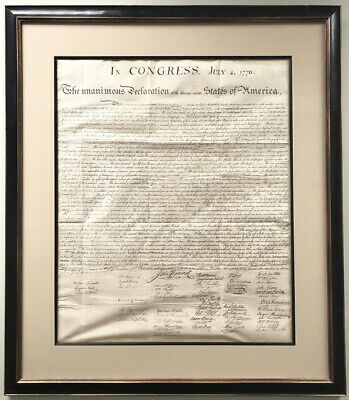Framed 1843 Peter Force Declaration of Independence Printing - Historic Document