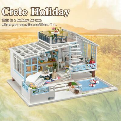 DIY Cottage House Dollhouse Kit Creative Toy with with Light Music Movement