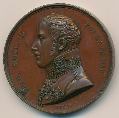 1814 Prussia/France King Frederick Visits the French Mint. Bronze 40mm Medallion