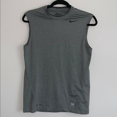 Nike Pro Combat Dri Fit Mens Size S Crew Neck Sleeveless Fitted Gray Tank Top