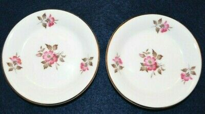 Set of 2 Royal Kent Bone China Small Saucers with Pink Flowers
