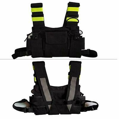 Green Front Pack Pouch Holster Vest Rig For Two-Way Walkie Talkie Chest Harness