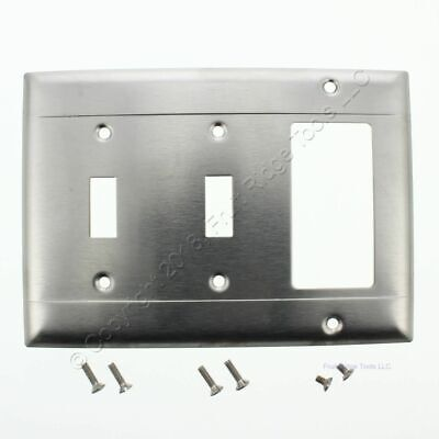 New P&S Stainless Steel 3-Gang Combination 2-Toggle 1-Decorator Wallplate S226-N