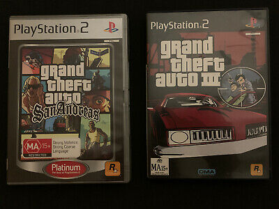Grand Theft Auto: III & San Andreas - 2x GTA Games For Sony Playstation 2 PS2