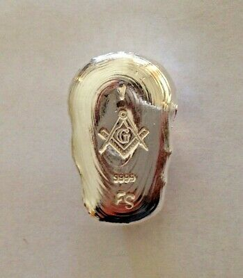 1oz SILVER 9999 FreeMason Masonic Mason Skull hand poured silver bar 31.1g