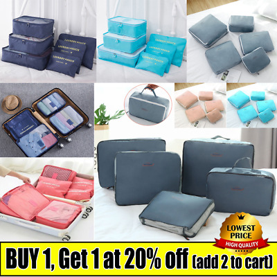 6PCS Travel Luggage Organiser Cube Clothes Storage Pouch Suitcase Packing Bags J