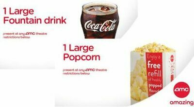 AMC theaters 1 large drink & 1 large popcorn vouchers - Digital Delivery