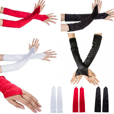 19'' Fingerless Stretch Satin Bridal Wedding Party Ceremony Opera Long Gloves