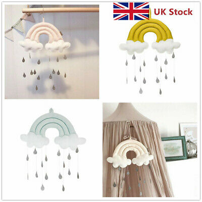 Mobile Hanging Props Cloud Raindrop Baby Toy Pendant Crib Nursery Accessories UK