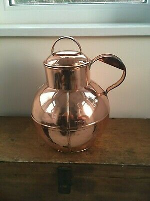 SUPERB DECORATIVE HUGE ANTIQUE COPPER CHANNEL ISLANDS MILK CAN 14 inches