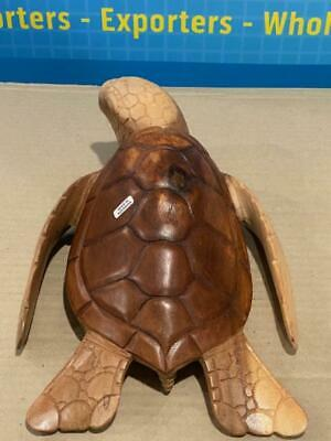 "12"" Hand Carved Suar Wood Two Tone Sea Turtle"