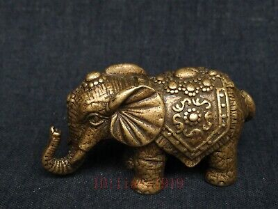 Collection China Old Bronze Carved Elephant Statue Paperweight Family Decoration
