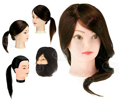 """22"""" 100% Real Hair Hairdressing Training Practice Head Doll Mannequin + Clamp"""