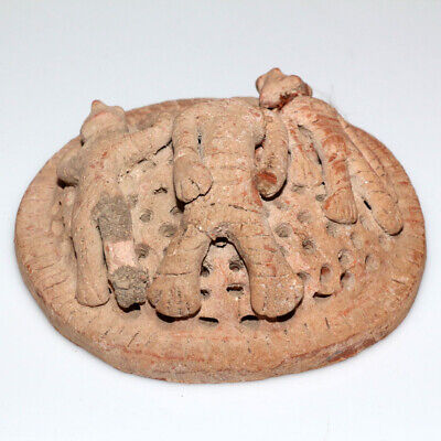 Undated-Ancient Near East Terracotta Round Mount Un-Usual Ornament