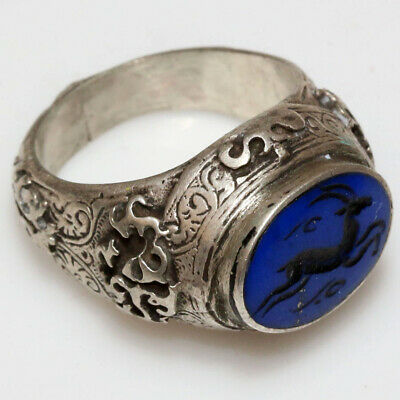 Museum Quality-Circa 1000-1300 Ad Near East Decorated-Silver Intaglio Ring