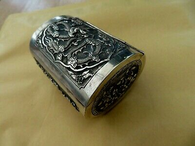 Solid Silver Chinese Oval Hinged Dragon Trinket Spice Box / Snuff Box