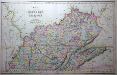 UNITED STATES KENTUCKY  BY HINTON / FENNER GENUINE ANTIQUE MAP HAND COLOUR c1834